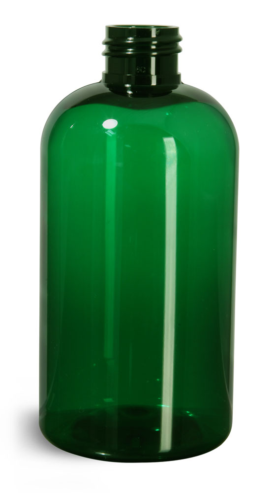 8 oz Green PET Boston Round Bottles (Bulk), Caps Not Included