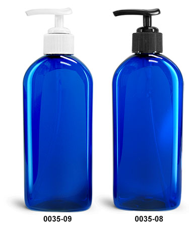 Plastic Bottles, Blue PET Dundee Oval Bottles With Lotion Pumps