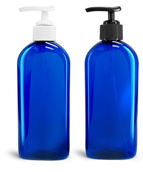 Plastic Bottles, Blue PET Dundee Oval Bottles w/ Lotion Pumps