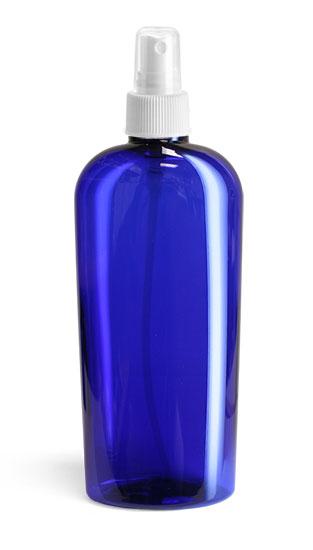 Plastic Bottles, Blue PET Dundee Oval Bottles w/ White Fine Mist Sprayers