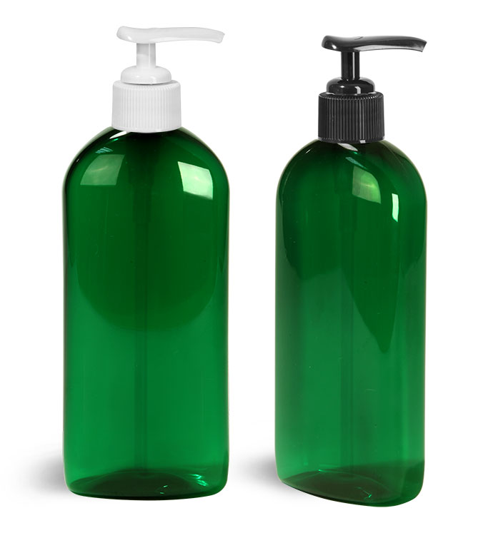 PET Plastic Bottles, Green Dundee Oval Bottles w/ Lotion Pumps