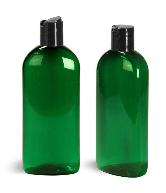 PET Plastic Bottles, Green Dundee Oval Bottles w/ Disc Top Caps