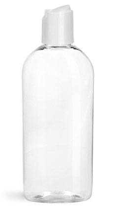 Plastic Bottles, Clear PET Dundee Ovals with Disc Top Caps