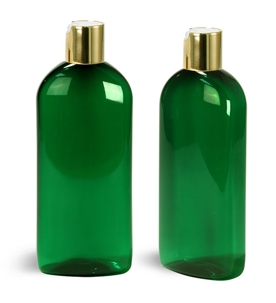Plastic Bottles, Green PET Dundee Oval Bottles With Gold Disc Top Caps
