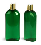PET Plastic Bottles, Green Dundee Oval Bottles w/ Gold Disc Top Caps