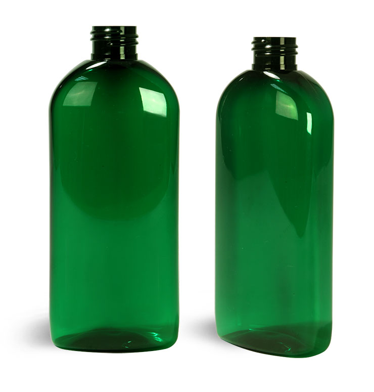 Plastic Bottles, Green PET Dundee Oval Bottles (Bulk) Caps NOT Included