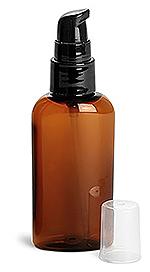 Amber PET Cosmo Ovals w/ Black Treatment Pumps