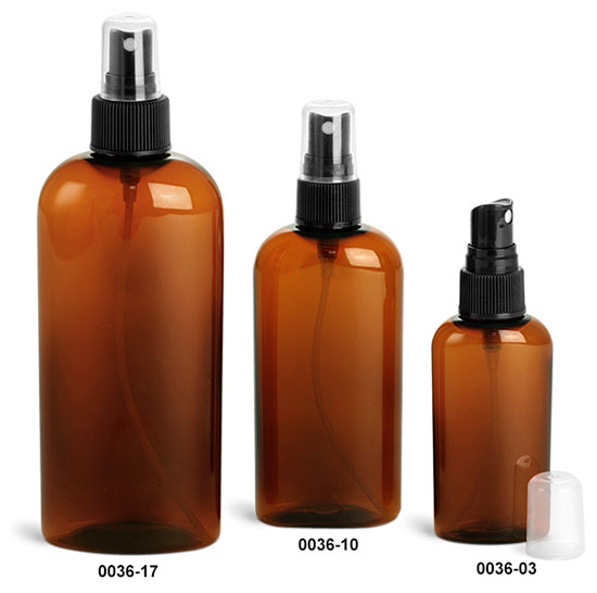 Plastic Bottles, Amber PET Cosmo Ovals w/ Black Ribbed Fine Mist Sprayers