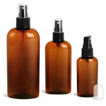Plastic Bottles, Amber PET Cosmo Oval Bottles w/ Black Ribbed Fine Mist Sprayers