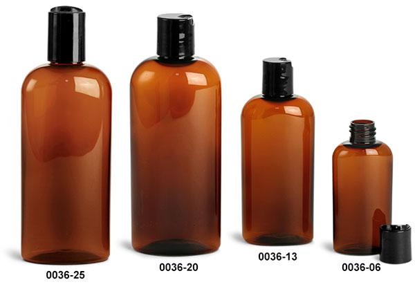 Plastic Bottles, Amber PET Cosmo Ovals w/ Black Disc Top Caps