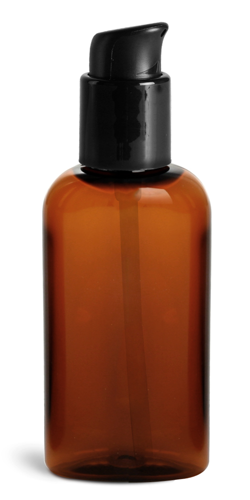 2 oz Amber PET Cosmo Ovals w/ Black Treatment Pumps