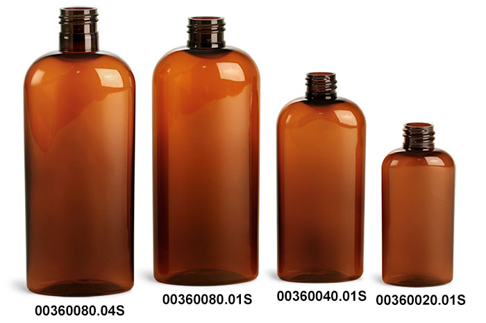 Plastic Bottles, Amber PET Cosmo Oval Bottles (Bulk) Caps NOT Included