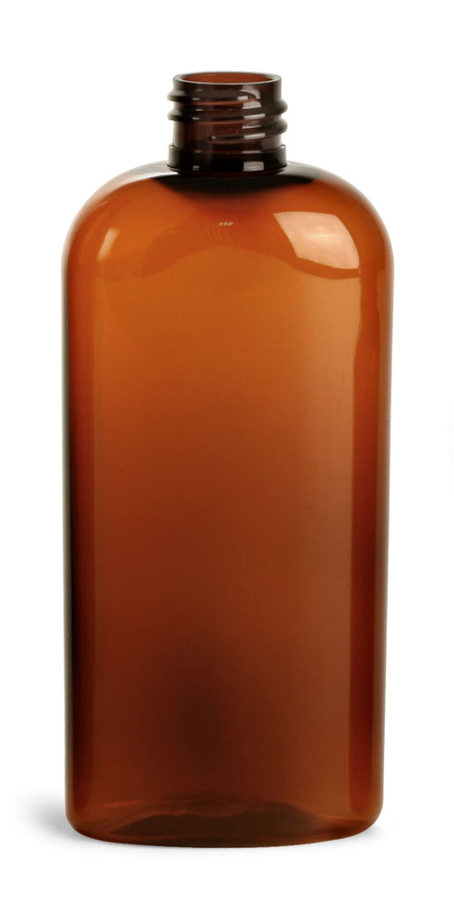 4 oz Amber PET Cosmo Oval (Bulk), Caps NOT Included