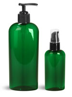 PET Plastic Bottles, Green Cosmo Oval Bottles w/ Black Pumps