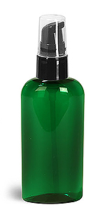 Green PET Cosmo Oval Bottles w/ Black Treatment Pumps