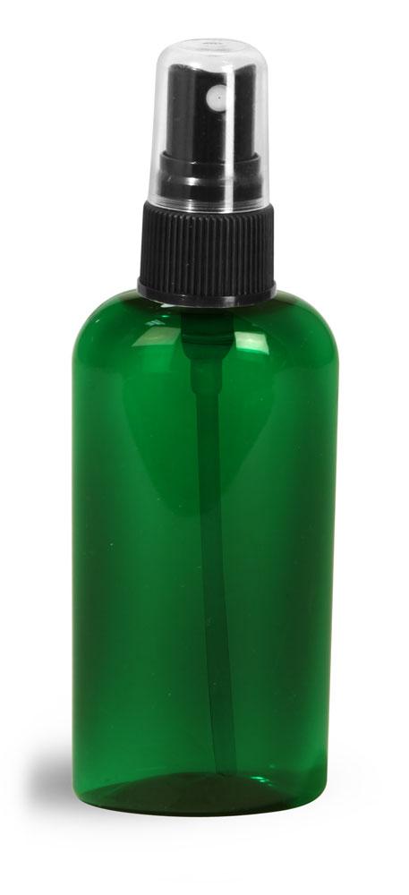 2 oz Green PET Cosmo Oval Bottles w/ Black Fine Mist Sprayers