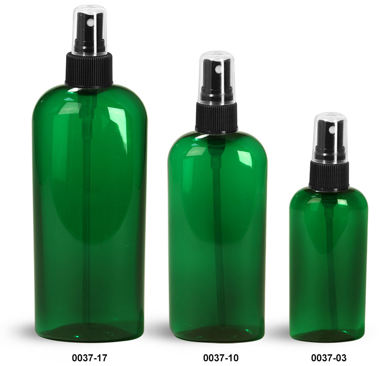 Plastic Bottles, Green PET Cosmo Oval Bottles With Black Fine Mist Sprayers