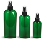 PET Plastic Bottles, Green Cosmo Oval Bottles w/ Black Fine Mist Sprayers