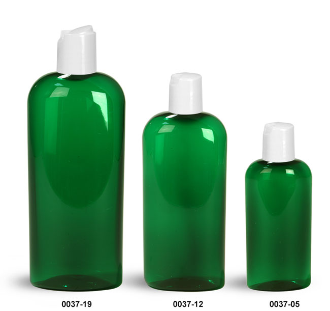 Plastic Bottles, Green PET Cosmo Oval Bottles With White Disc Top Caps