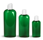 PET Plastic Bottles, Green Cosmo Oval Bottles w/ White Disc Top Caps