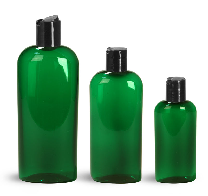 PET Plastic Bottles, Green Cosmo Oval Bottles w/ Black Disc Top Caps