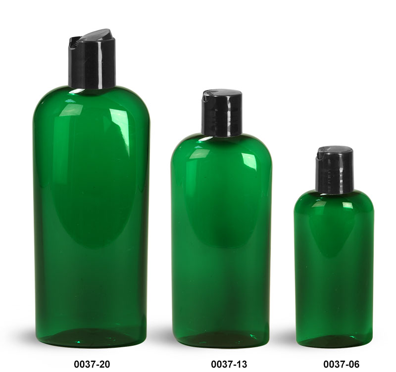 Plastic Bottles, Green PET Cosmo Oval Bottles With Black Disc Top Caps