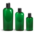 Green PET Cosmo Oval Bottles w/ Black Disc Top Caps