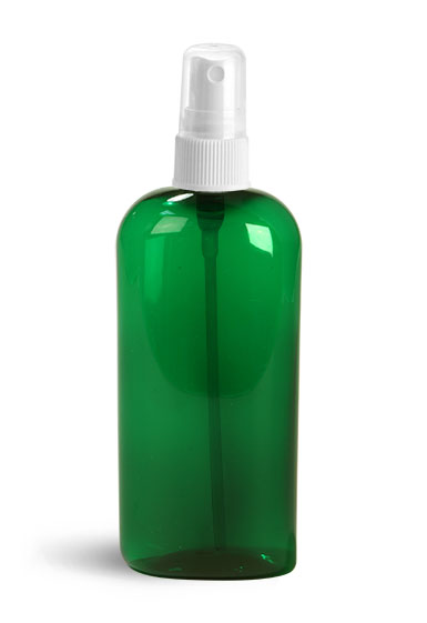 PET Plastic Bottles, Green Cosmo Oval Bottles w/ White Fine Mist Sprayers