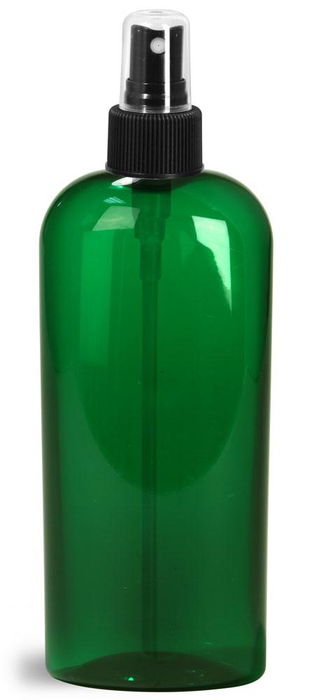 8 oz Green PET Cosmo Oval Bottles w/ Black Fine Mist Sprayers