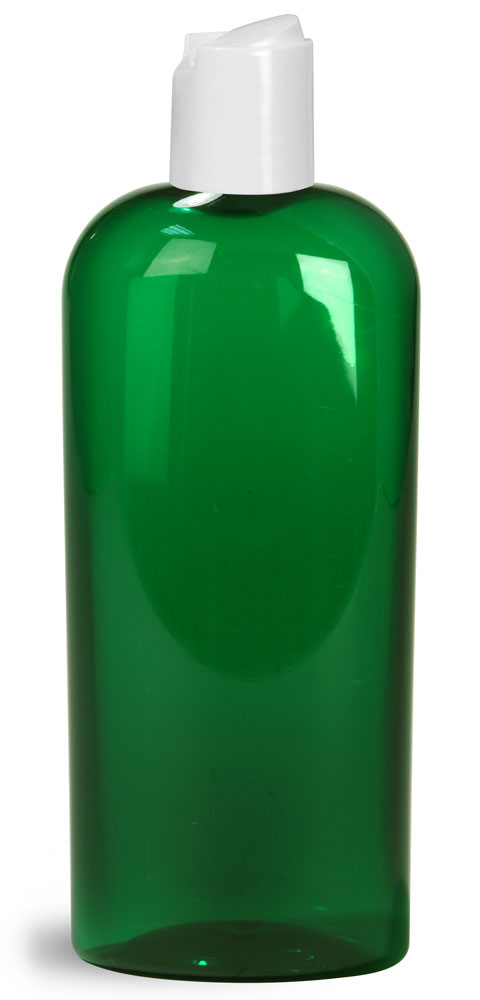 8 oz Green PET Cosmo Oval Bottles w/ White Disc Top Caps