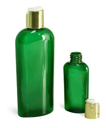Green PET Cosmo Oval Bottles w/ Gold Disc Top Caps