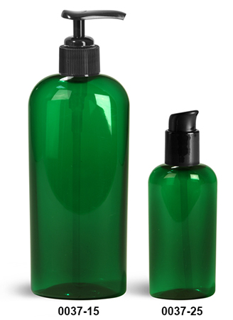 Plastic Bottles, Green PET Cosmo Oval Bottles With Black Pumps