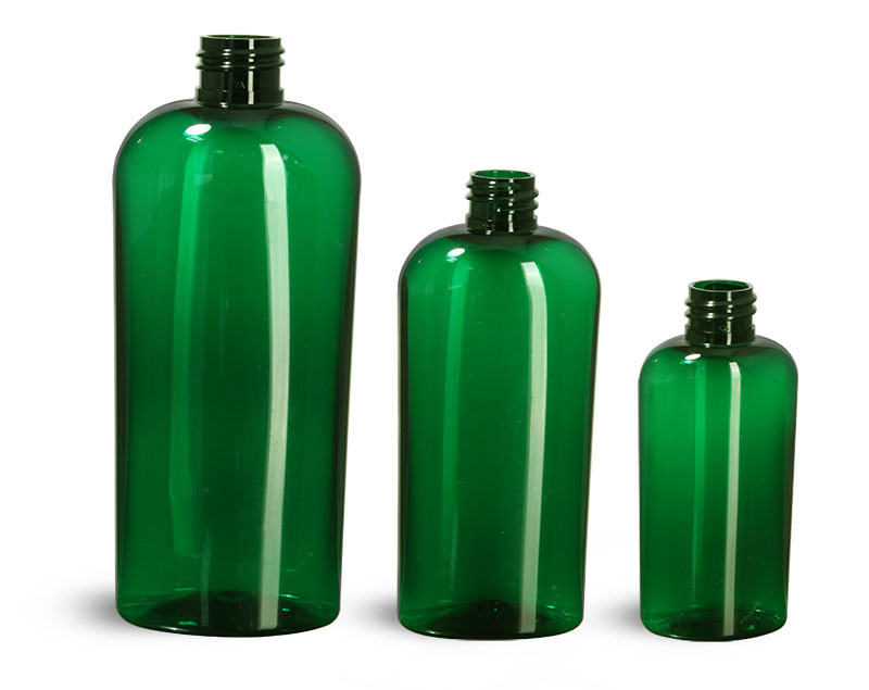 Green PET Cosmo Oval Bottles (Bulk), Caps NOT Included