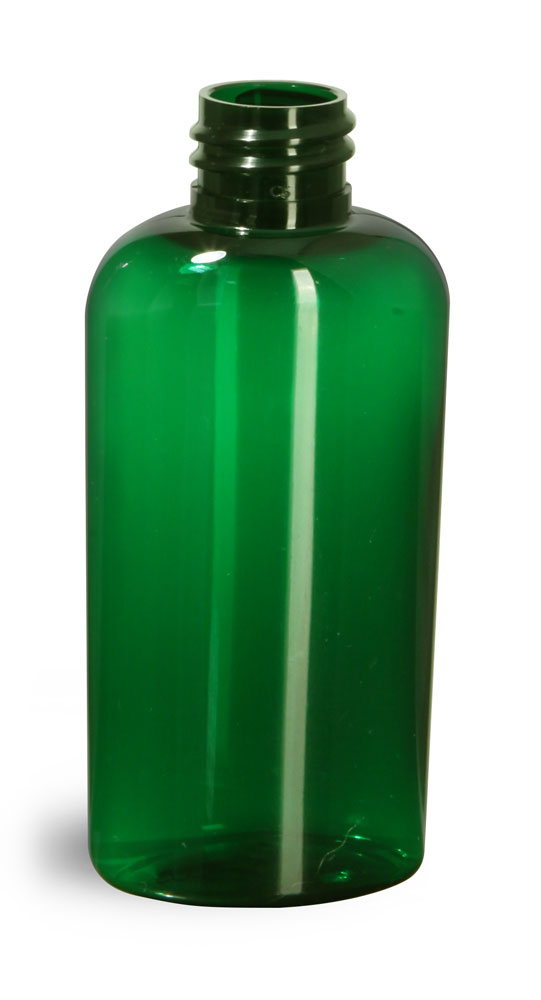 2 oz Green PET Cosmo Oval Bottles (Bulk), Caps NOT Included