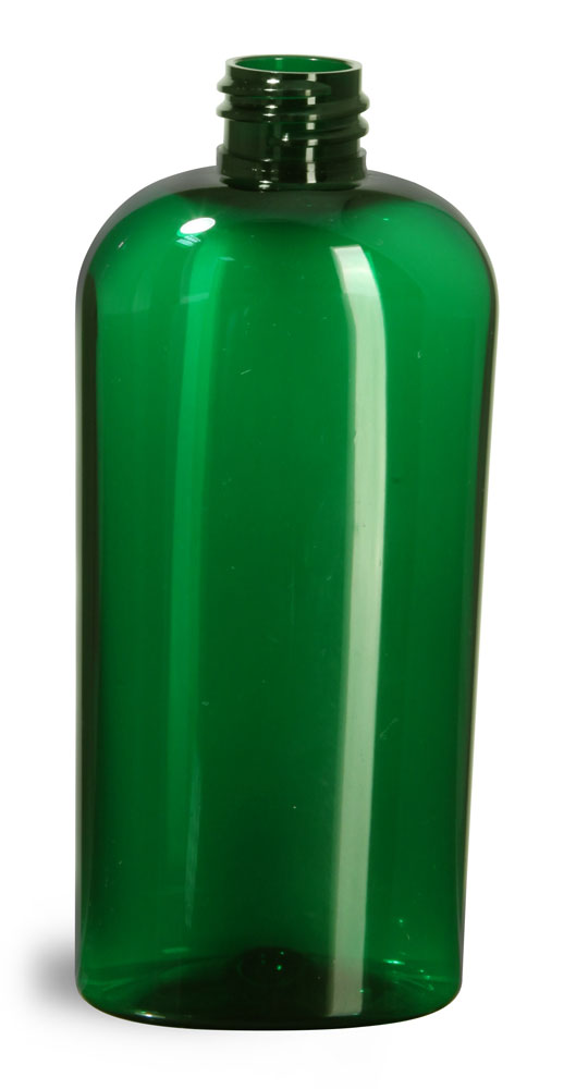 4 oz Green PET Cosmo Oval Bottles (Bulk), Caps NOT Included