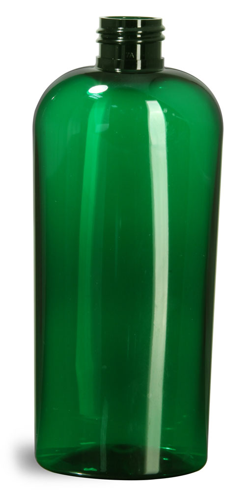 8 oz Green PET Cosmo Oval Bottles (Bulk), Caps NOT Included