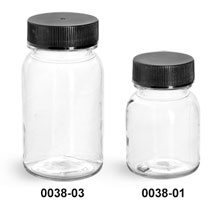 Plastic Bottles, Clear PET Wide Mouth Round Bottles With Black PE Lined Caps