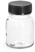 Clear PET Wide Mouth Round Bottles w/ Black PE Lined Caps