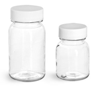 PET Plastic Bottles, Clear Wide Mouth Round Bottles w/ White PE Lined Caps
