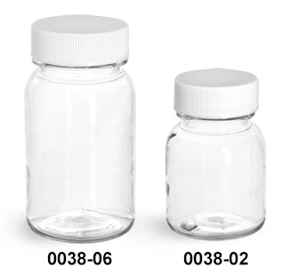 Plastic Bottles, Clear PET Wide Mouth Bottles With White PE Lined Caps