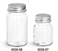 Plastic Bottles, Clear PET Wide Mouth Bottles With Silver Aluminum Lined Caps