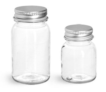 PET Plastic Bottles, Clear Wide Mouth Round Bottles w/ Silver Aluminum Lined Caps