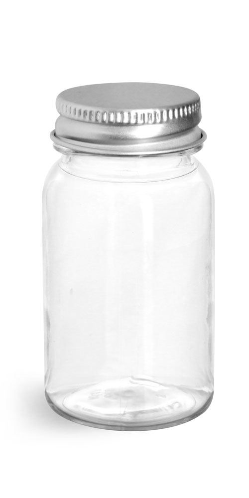 Clear PET Wide Mouth Round Bottles w/ Silver Aluminum Lined Caps