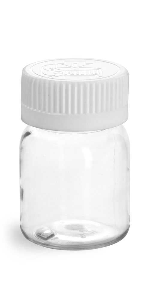 Plastic Bottles, Clear PET Wide Mouth Rounds w/ White Child Resistant Lined Caps
