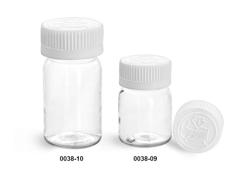 Plastic Bottles, Clear PET Wide Mouth Bottles w/ White Child Resistant Lined Caps
