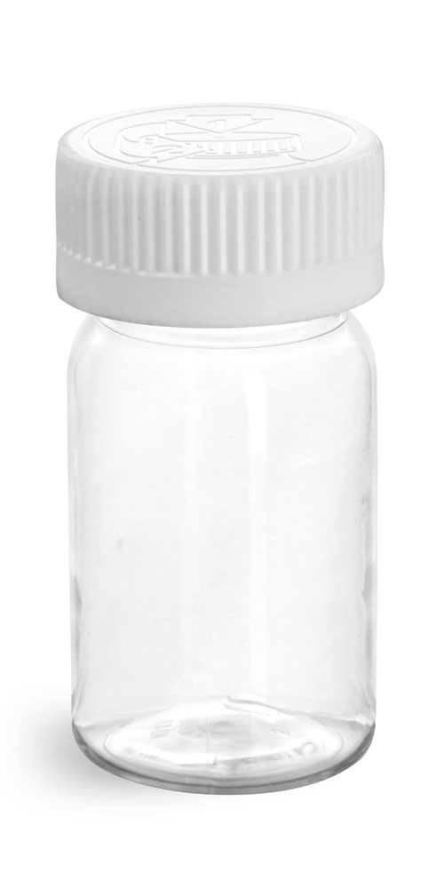 60 cc Plastic Bottles, Clear PET Wide Mouth Rounds w/ White Child Resistant Lined Caps