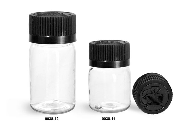 Plastic Bottles, Clear PET Wide Mouth Bottles w/ Black Child Resistant Caps