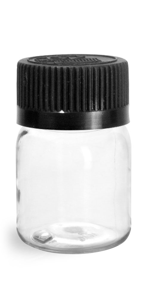 30 cc Plastic Bottles, Clear PET Wide Mouth Rounds w/ Black Child Resistant Lined Caps