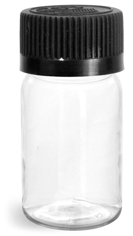 Plastic Bottles, Clear PET Wide Mouth Rounds w/ Black Child Resistant Lined Caps