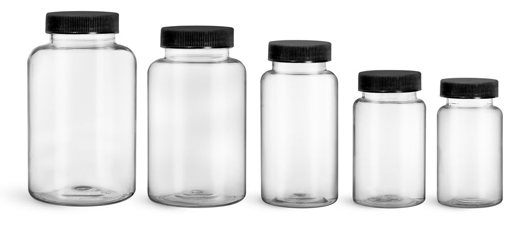 PET Plastic Bottles, Clear Wide Mouth Packer Bottles w/ Black Ribbed PE Lined Caps